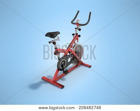 Modern Exercise Bike Red Perspective 3D Render On Blue Background