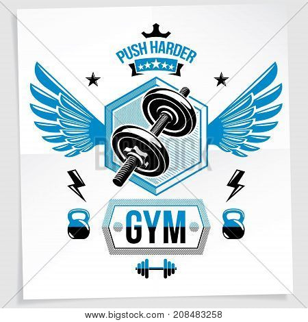 Sports center vector advertising poster made using disc weight dumbbell and kettle bell sport fitness and power lifting equipment. With wings.
