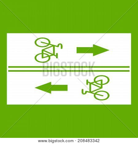 Road for cyclists icon white isolated on green background. Vector illustration