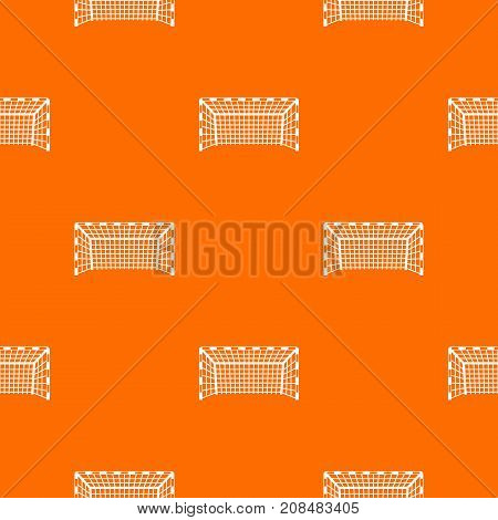 Goal post pattern repeat seamless in orange color for any design. Vector geometric illustration