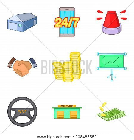 Car sale icons set. Cartoon set of 9 car sale vector icons for web isolated on white background