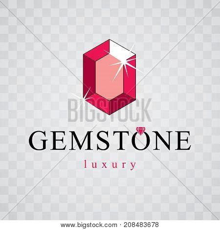 Vector luxury faceted decorative element. Glossy diamond sign emblem logo. Brilliant jewelry illustration.