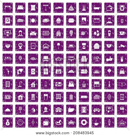 100 hotel icons set in grunge style purple color isolated on white background vector illustration