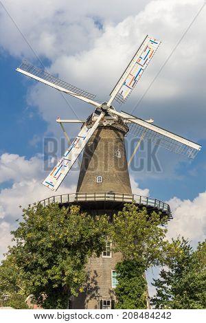 Historic Windmill De Valk In The Center Of Leiden