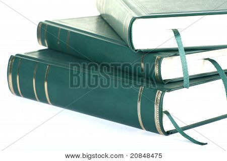 Three Green Blank Books With Bookmark