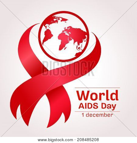 world aids day with earth world sign and red ribbon sign vector design