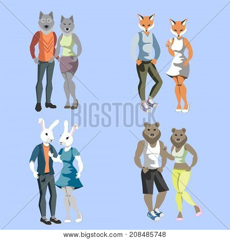 Anthropomorphic animals male and female. Vector illustration
