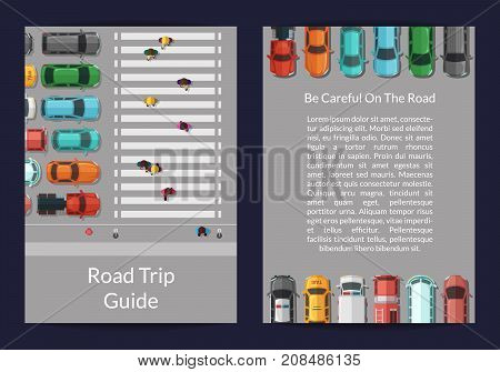 Vector cars on the road with people on pedestrian zone top view card or flyer template banner and poster illustration