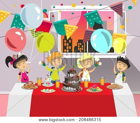 Birthday party for kids with dessert. Vector illustration