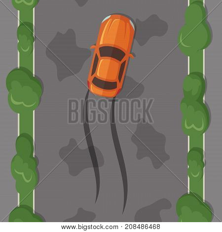 Vector car lost control on wet road with tire tracks with grass and trees on sidelines top view illustration