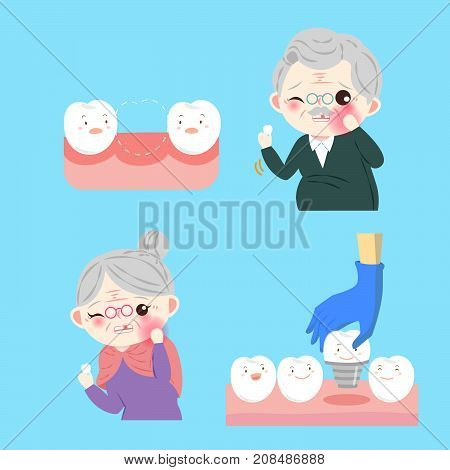 people with tooth implant on the blue background