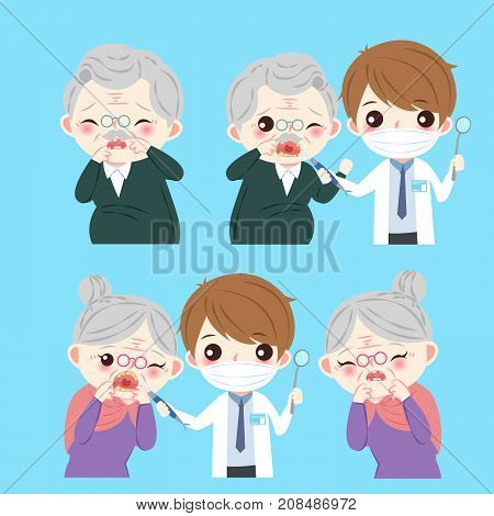 old people with tooth decayproblem on the blue background