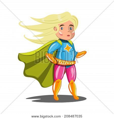 Woman superhero in costume. Vector illustration isolated