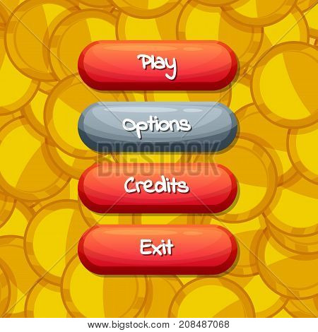 Vector cartoon style enabled and disabled buttons with text for game design on golden coins background illustration