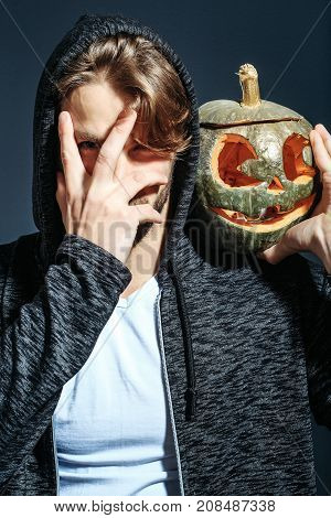 Sexy Halloween Man With Pumpkin
