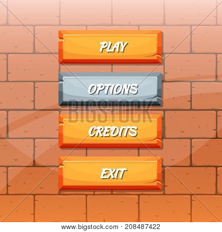 Vector cartoon style orange stone buttons with text for game design on brick texture background illustration