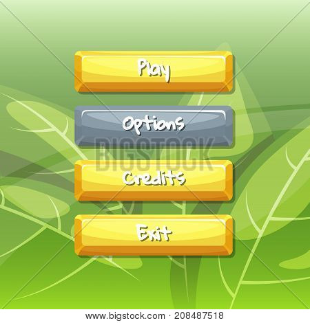 Vector cartoon style enabled and disabled buttons with text for game design on floral texture background illustration