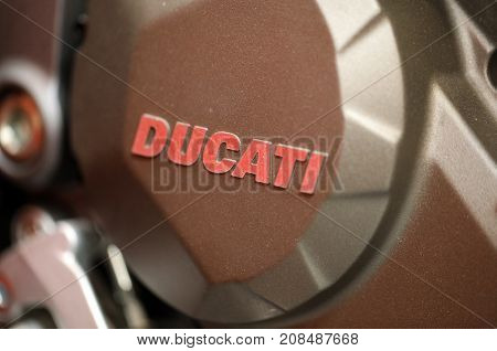 CRACOW POLAND - MAY 20 2017Ducati logo closeup on Ducati motorcycle displayed at MOTO SHOW in Cracow Poland. Exhibitors present most interesting aspects of the automotive industry