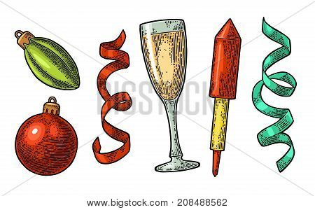 Merry Christmas and Happy New Year set. Toy serpentine firework rocket champagne glass. Vector vintage color engraving illustration isolated on white