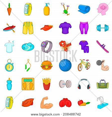 Wellness icons set. Cartoon style of 36 wellness vector icons for web isolated on white background