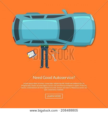 Vector mechanic lying under car with instruments top view illustration