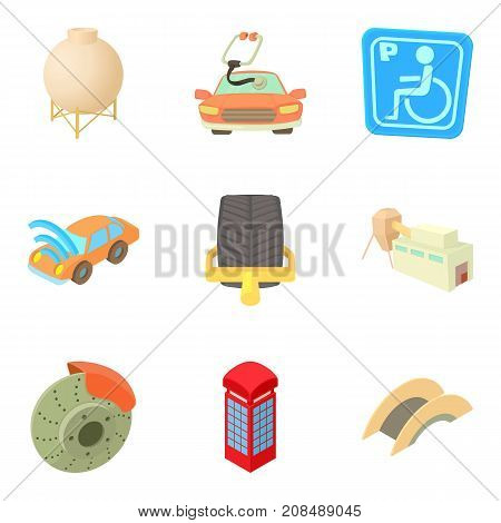 Remote city icons set. Cartoon set of 9 remote city vector icons for web isolated on white background