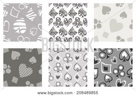 Set Of Seamless Vector Patterns With Icons Of Playings Cards. Background With Hand Drawn Symbols. Gr