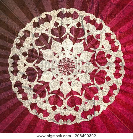 Decorative design element. Patterns with geometric ornament. Circular ornamental symbol. Asian ornamental motifs. Grunge concrete wall texture