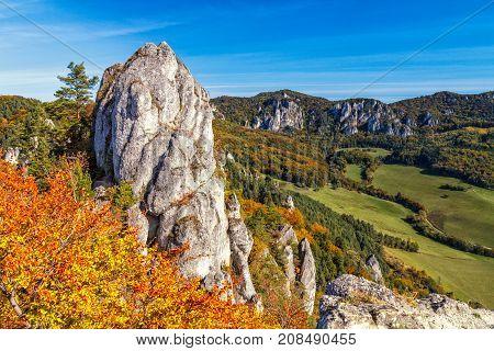 Autumn Landscape With Rocks In Sulov, Slovakia, Europe