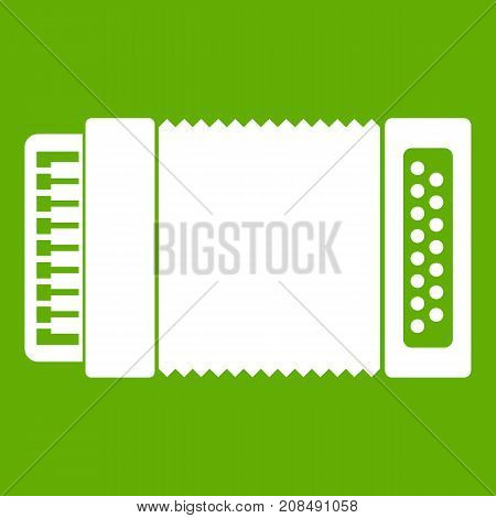 Accordion icon white isolated on green background. Vector illustration