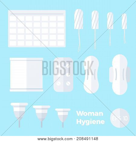Female hygiene products. Kinds of pads tampons menstrual cups in flat style.