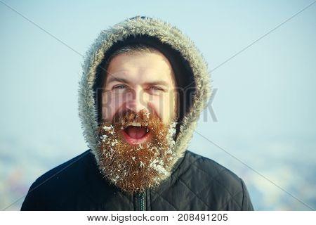 Christmas Man With Long Beard.