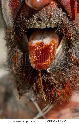 Halloween Tongue Bleeding With Red Blood And Saliva