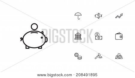 Collection Of Auction, Grow Up, Protect And Other Elements.  Set Of 10 Budget Outline Icons Set.