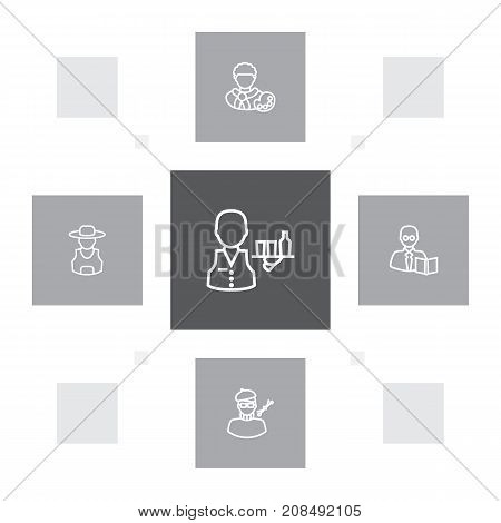 Collection Of Farmer, Teacher, Designer And Other Elements.  Set Of 5 Position Outline Icons Set.