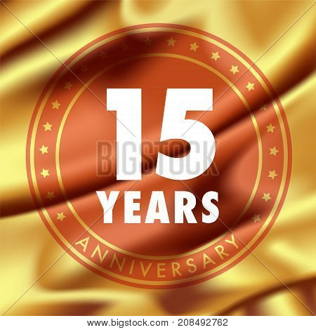 15 years anniversary vector icon logo. Template design element with golden medal in silk for 15th anniversary greeting card can be used as decoration element