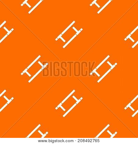 Tonfa pattern repeat seamless in orange color for any design. Vector geometric illustration