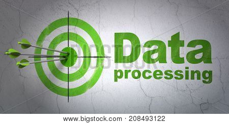 Success Information concept: arrows hitting the center of target, Green Data Processing on wall background, 3D rendering