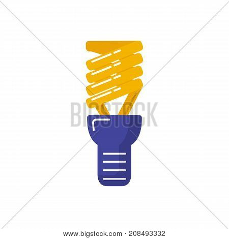Energy saving light bulb icon in flat style. Spiral lamp linear symbol isolated on white background.