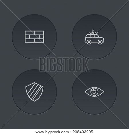 Collection Of Siren, Firewall, Protection And Other Elements.  Set Of 4 Security Outline Icons Set.
