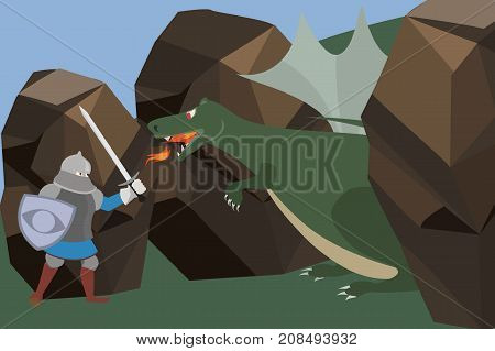 knight fighting the dragon in the wild - funny vector cartoon illustration