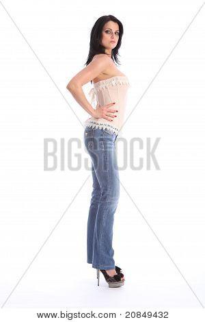 Beautiful Long Legged Woman In Sexy Corset Top