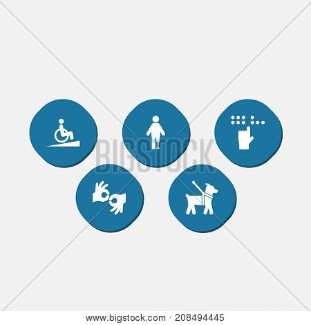 Collection Of Braille, Ramp, Gesture And Other Elements.  Set Of 5 Accessibility Icons Set.