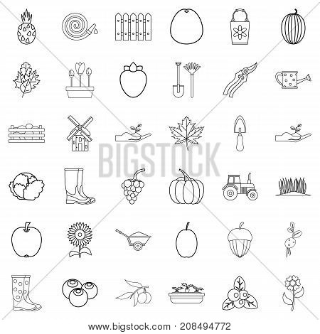 Cultivated icons set. Outline style of 36 cultivated vector icons for web isolated on white background