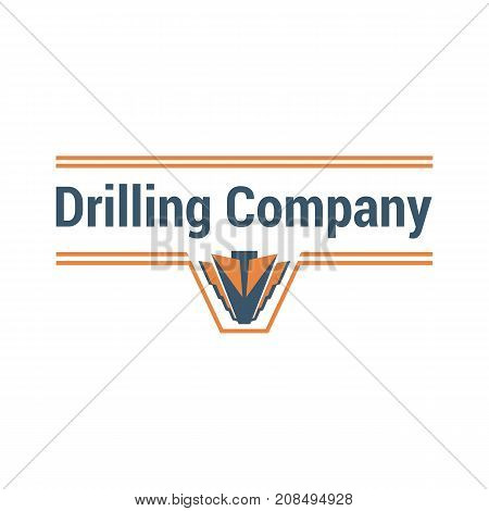 Vector logo template for drilling company. Illustration of drill bit in orange and gray colors. Geological prospecting sign. EPS10. Horizontal drilling icon.