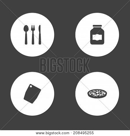 Collection Of Silverware, Cutting Surface, Pepperoni And Other Elements.  Set Of 4 Cooking Icons Set.