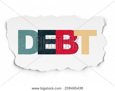 Business concept: Painted multicolor text Debt on Torn Paper background