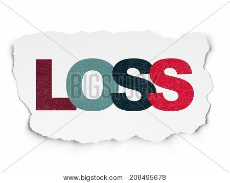 Business concept: Painted multicolor text Loss on Torn Paper background