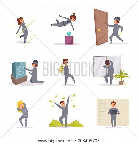 Robbers. Vector. Cartoon. Isolated art on white background Flat