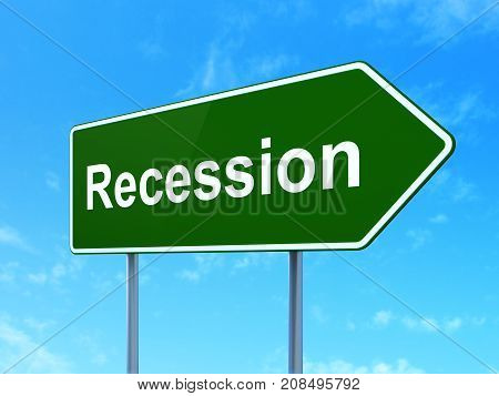 Business concept: Recession on green road highway sign, clear blue sky background, 3D rendering